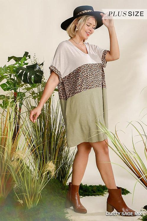 Linen Blend V-neck Dress With Pockets