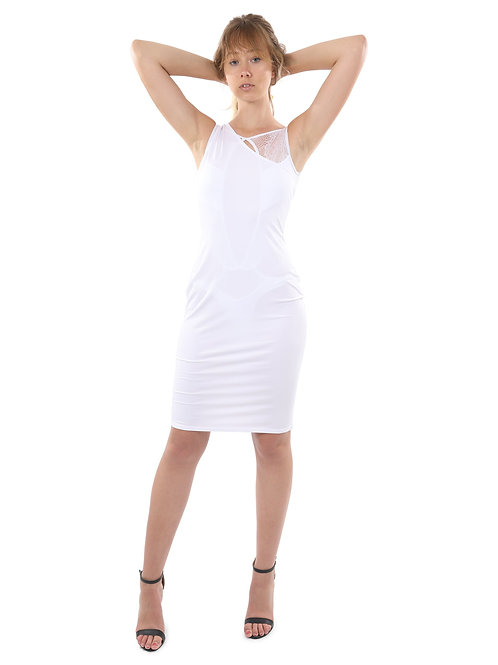 Eden Asymmetric Neckline Mini Dress - White