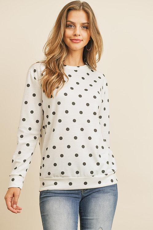 Fleeced Polka Dot Print Long Sleeved Pullover Top