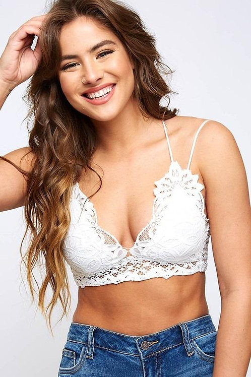 Match Made in Heaven Lace Crocheted Bralette- White