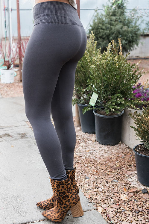 High Waisted Fleece Lined Leggings- Charcoal