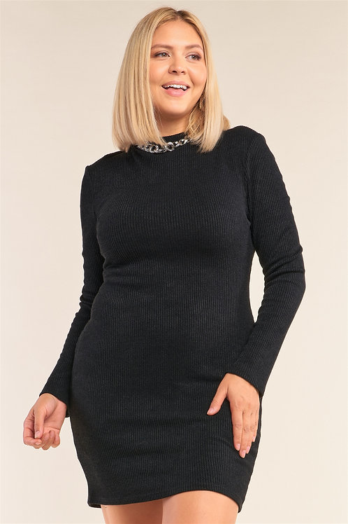 Long Sleeve Ribbed Knit Dress