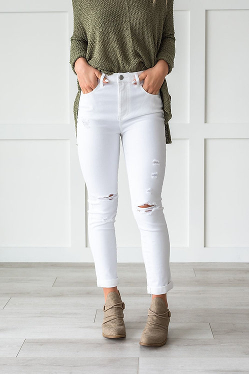 Totally Chic Distressed White Jeans