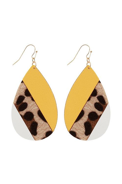 Leather Multi Fish Hook Teardrop Earrings