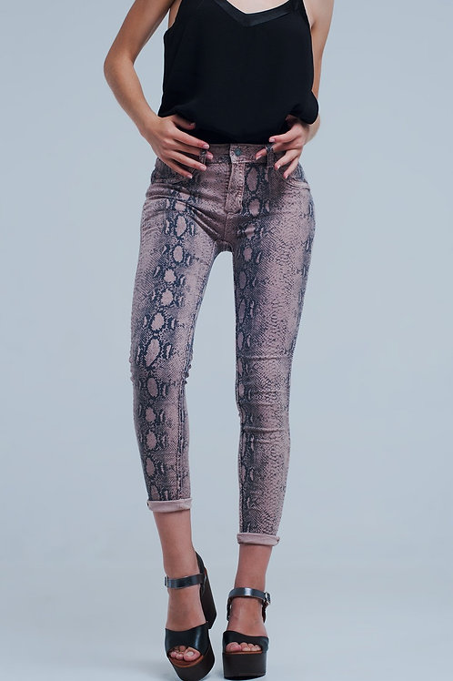 Reversible Animal Print Pink Jeans