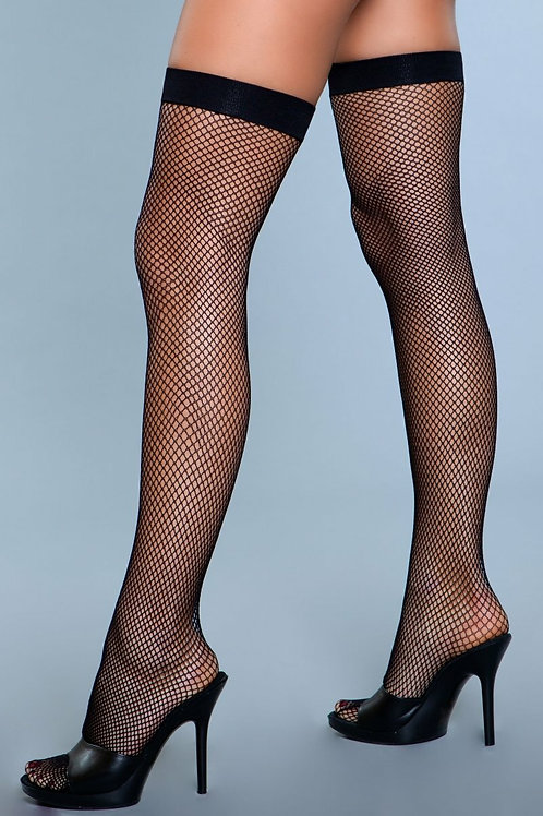 1931 Nylon Fishnet Thigh Highs Black