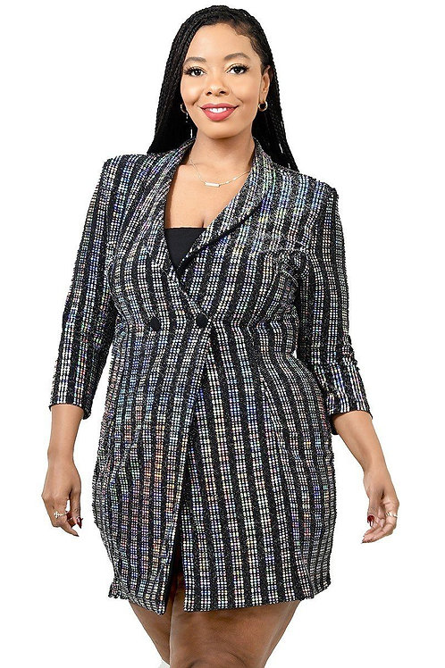 Metallic Stripe Jacket Dress