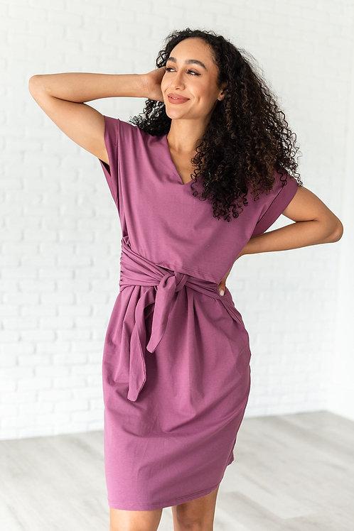 Expect Anything Tie Waist Midi Dress