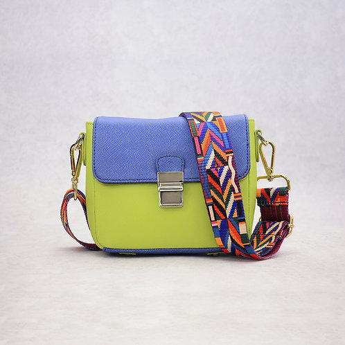Tiny Leather Handbag -Blue/Lime (Option 1)