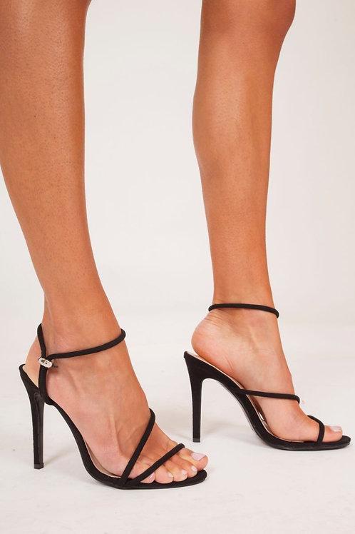 Sienna Black Strappy Heels