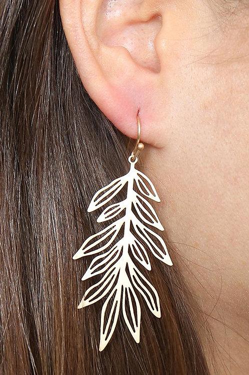 Me10264 - Laser Cut Fern Leaf Drop Earrings