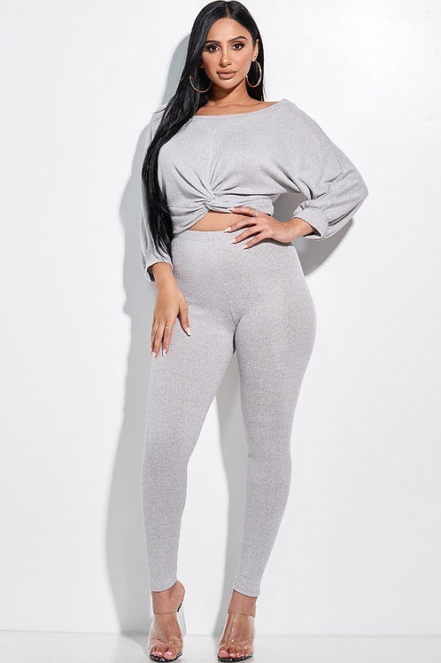 Knotted Front Top And Leggings Set