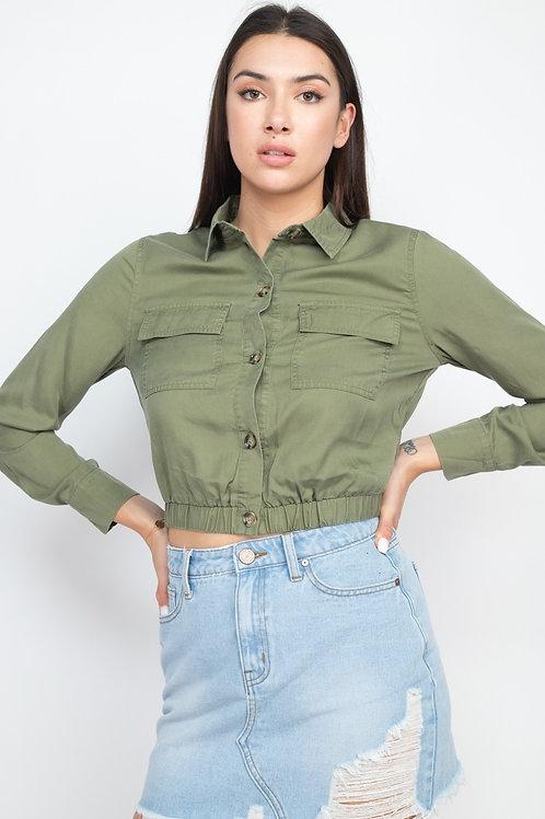 Elasticized Waist Flap Pockets Top