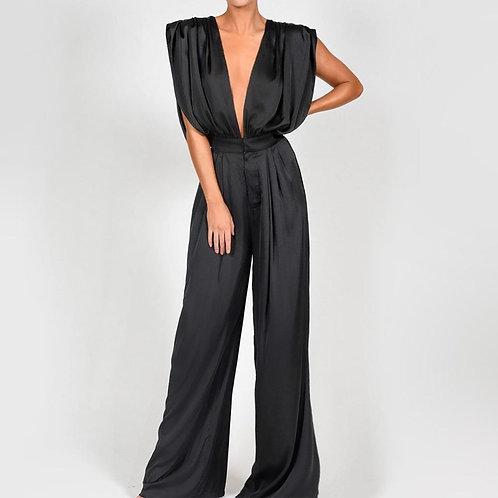 Deep V Neck Sleeveless Sexy Jumpsuit Luxury Silk Satin Solid Flare