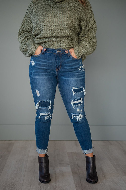 New Obsession Patched Skinny Jeans