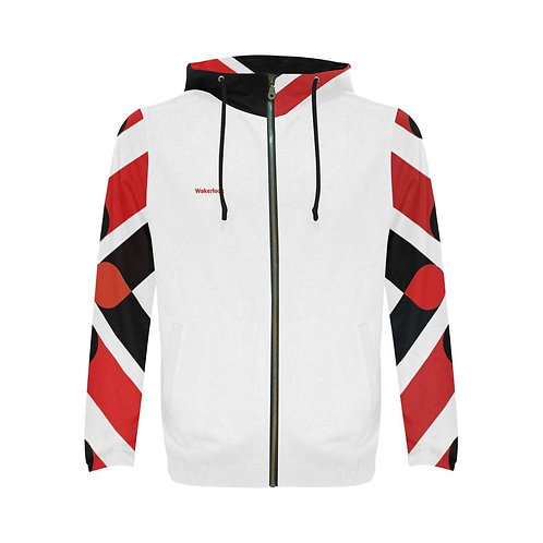 Wakerlook Men's Red Sleeves Print Full Zip Hoodie