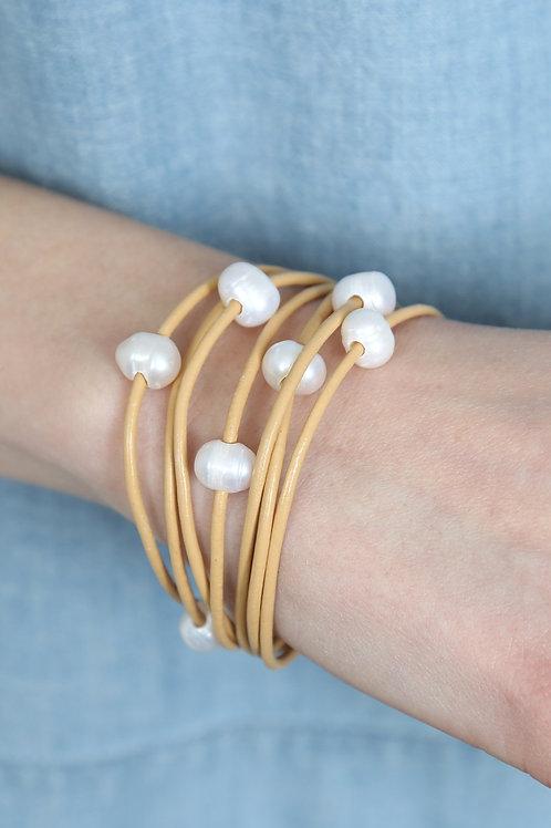 Pearl Multi Leather Wrap Bracelet