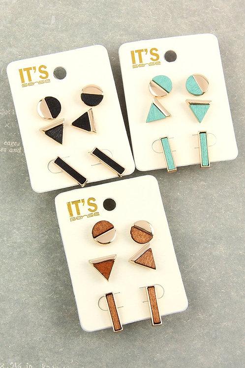 Circle Triangle Bar Stud Earrings Set