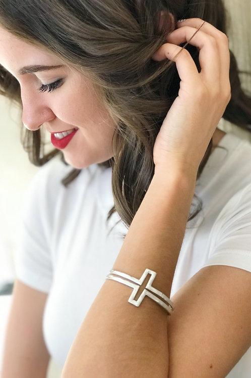 Cross Cuff Bracelet, Silver