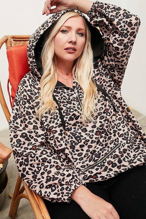 Leopard Print Anorak Windbreaker