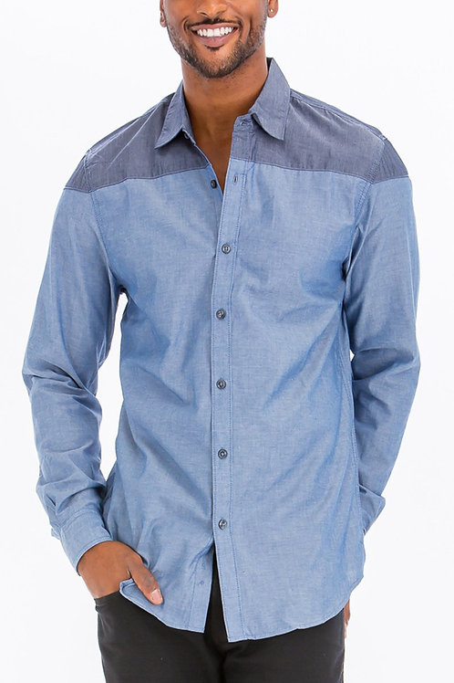 TWO TONE LONG SLEEVE BUTTON DOWN