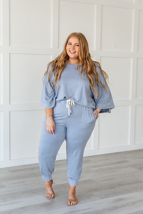 Lazy Weekend French Terry Joggers - Blue