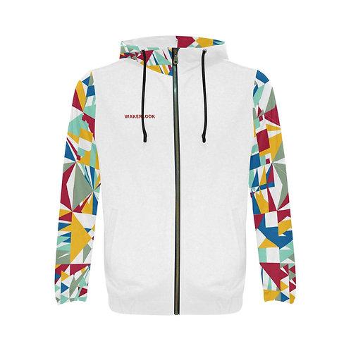 Fashion Wakerlook Geometric Star Print Full Zip Hoodie