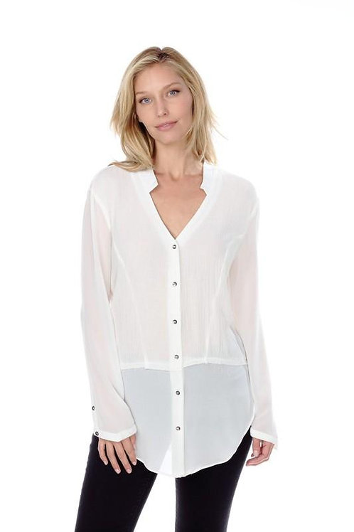 Ivory Long Sleeve Sheer Top with Buttons