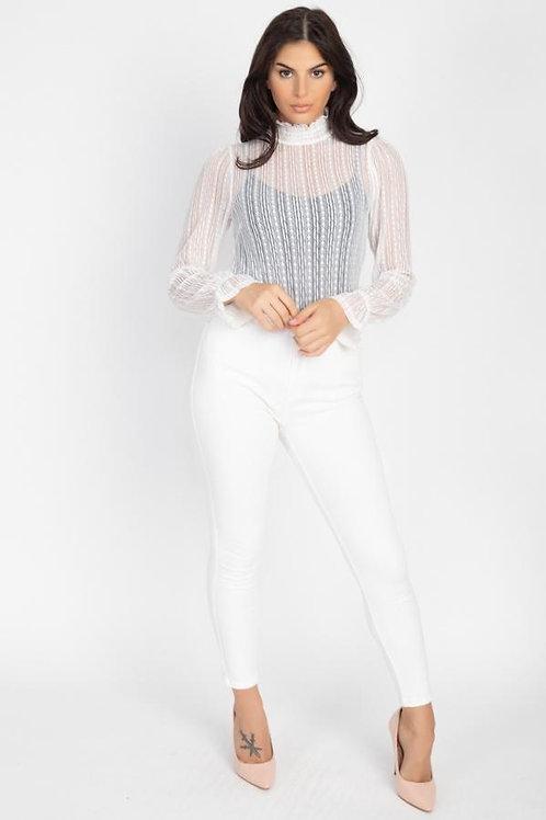 Sheer Gracefully Ruffle Top (White)