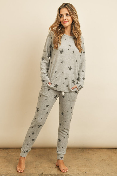 Star Print Brushed Top and Joggers Set With Self Tie