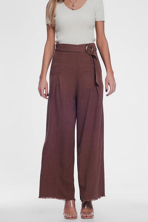 Belted High Waist Wideleg Trouser in Brown