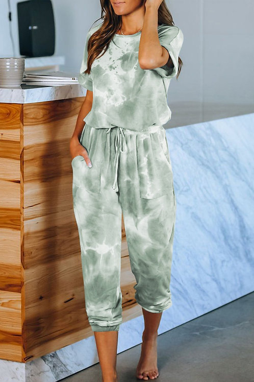 Pocketed Green Tie-dye Short Sleeve Knit Jumpsuit