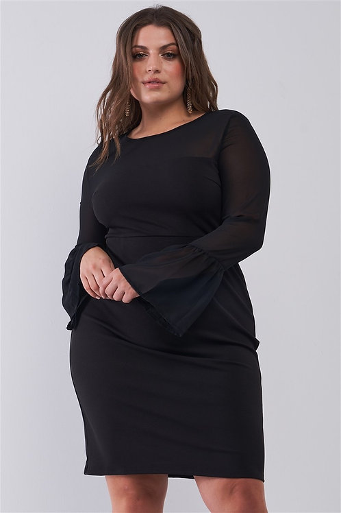Sheer Mesh Sleeve Mini Dress