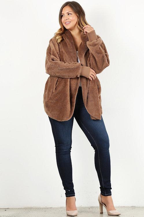 Plus Size Faux Fur Hip Length Jacket