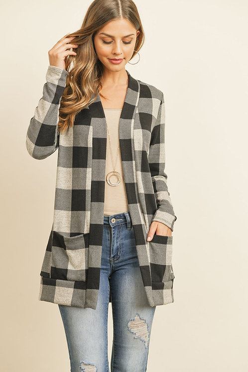 Plaid Long Sleeved Front Pocket Open Cardigan