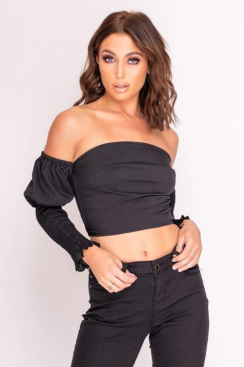 Black Bardot Puff Sleeve Crop Top
