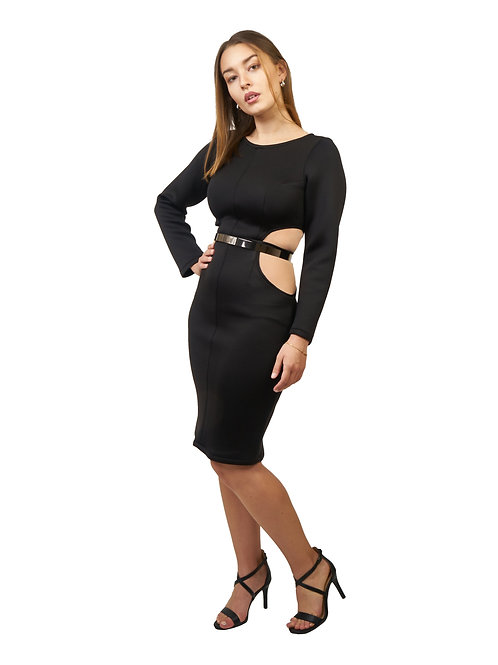 Long Sleeves Cutouts Neoprene Dress