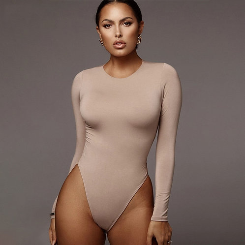 O Neck Long Sleeve Solid Bodysuit