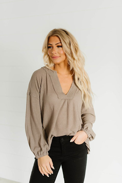 Thinking About You Waffle Knit Top-Taupe