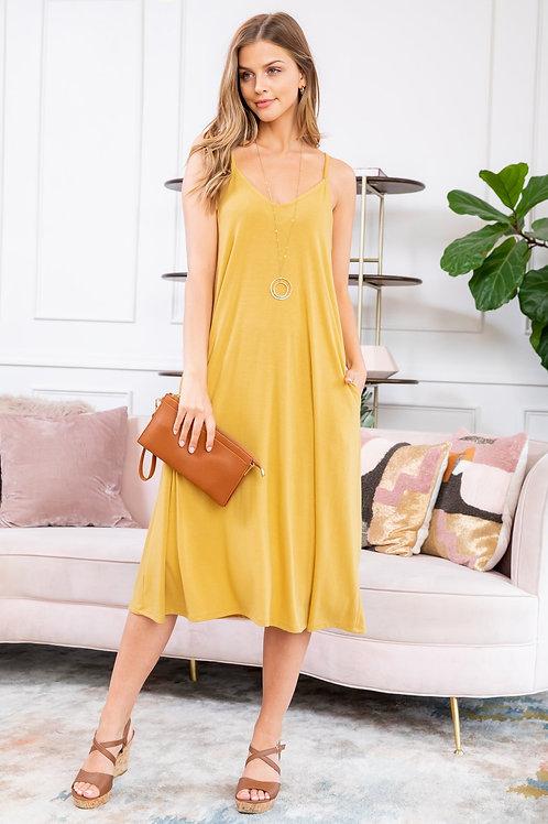 Premium Fabric V-Neck Cami Knee Length Dress
