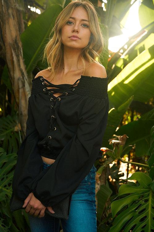 Women's Lace-Up Off Shoulder Elastic Blouse
