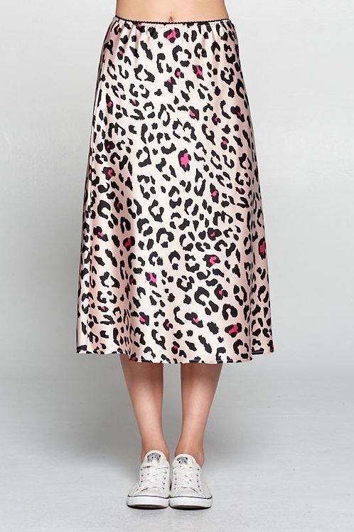 Leopard Print Satin Skirt