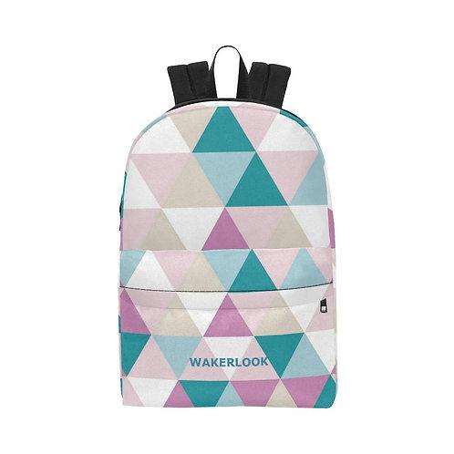 Shape Triangle Diamond Pink White All-Over Print Unisex Nylon Backpacks