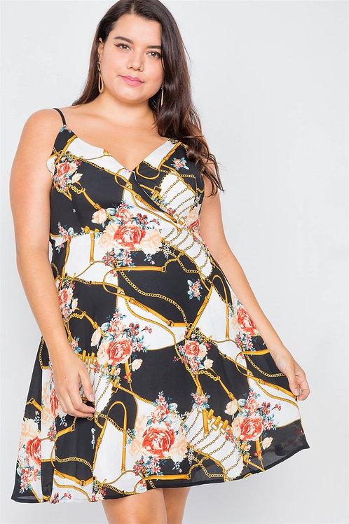 Plus Size Black Floral Belt & Chain Printed Mini Dress