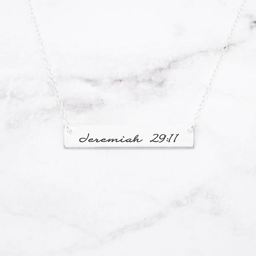Jeremiah 29:11 Necklace - Sterling Silver Bar Necklace