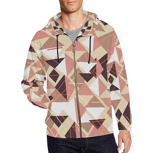 Wakerlook Shape Abstract Men's All Over Print Full Zip Hoodie