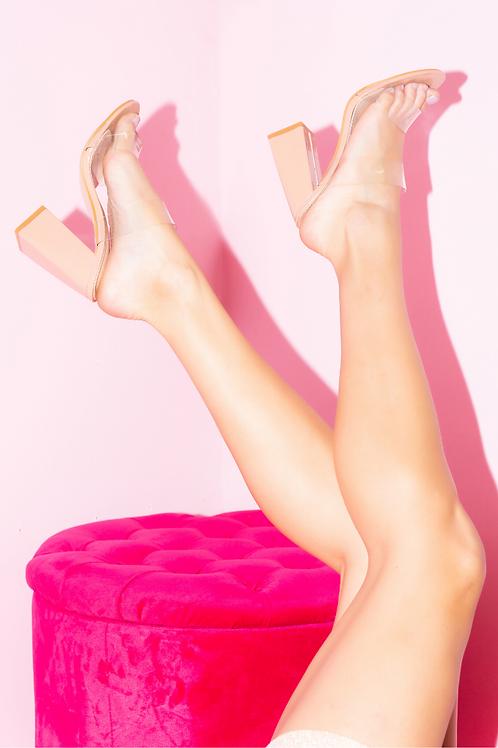 Elsa Nude Clear Strap Block Heels