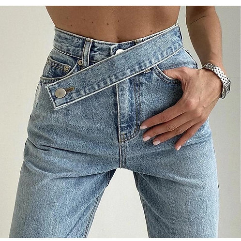 Women's Fake Belt Jeans Buttons straight Pants High Street Denim Loose