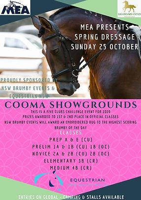 MEA Spring Dressage Poster October 2020.
