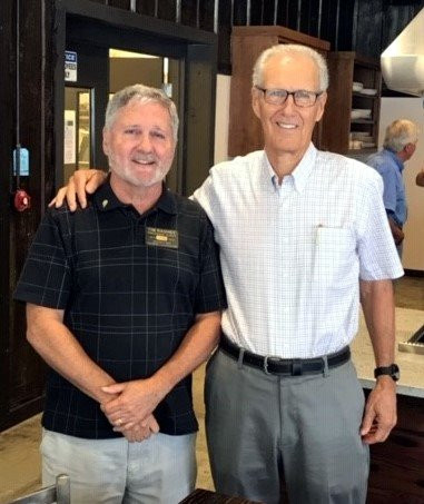 Left Lee Penland , Rotary Club of Clayton President, right, Mike Walters of Rabun County Alliance